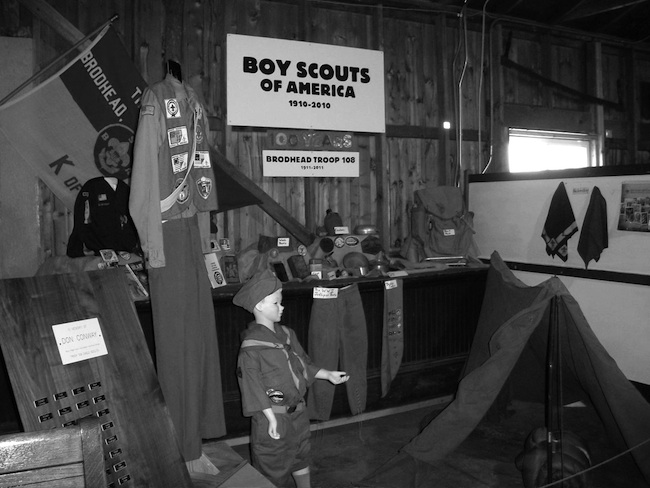 The new Boy Scouts display in the freight room of the depot.